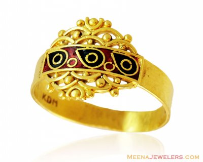 22k Fancy Gold Meena Ring ( Ladies Signity Rings )