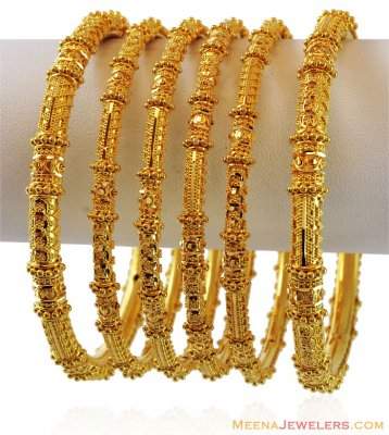 Gold Bangles Set(Set of 6) ( Set of Bangles )