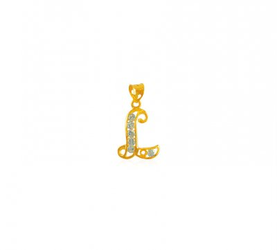 22K Gold Pendant with Initial (L) ( Initial Pendants )