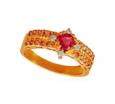 22k Ruby,Cz Stones Ladies Ring ( Ladies Rings with Precious Stones )