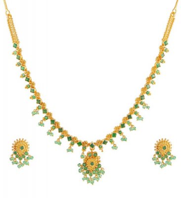 22Kt Gold Emerald Necklace ( Emerald Necklace Sets )