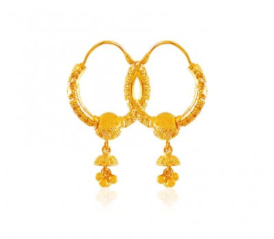 22K Gold Filigree Hoops ( Hoop Earrings )