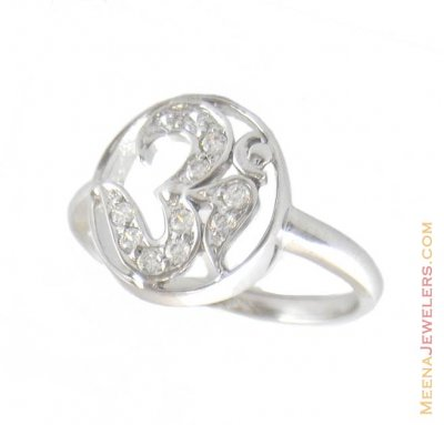 Om Ring With Signity ( Ladies White Gold Rings )