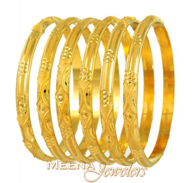 Gold Bangles Lazer Cuts (2 pc only) ( Set of Bangles )