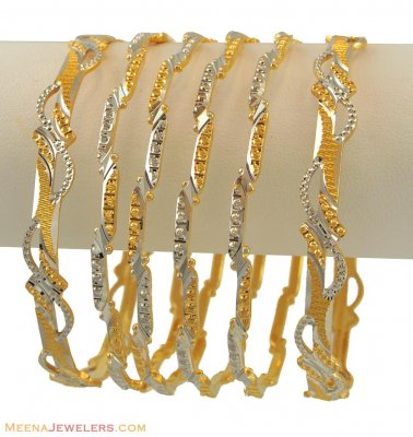 22k Two Tone Bangles Set(6 pcs) ( Two Tone Bangles )