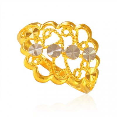 22 Kt Gold Two Tone Ladies Ring  ( Ladies Gold Ring )