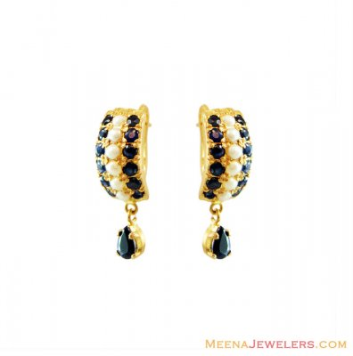 Sapphire Earrings (22Kt Gold) ( Precious Stone Earrings )