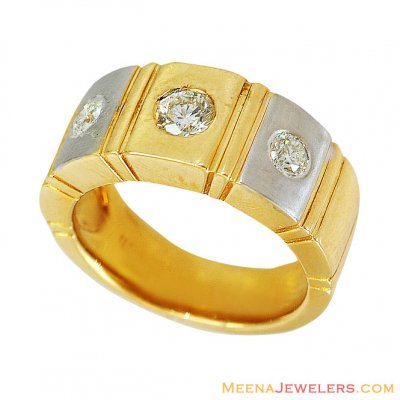 18kt Mens Two Tone Solitaire Band  ( Diamond Rings )