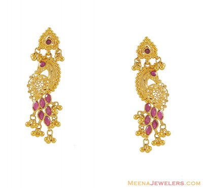 22K Gold Earrings (with Rubies) ( Precious Stone Earrings )