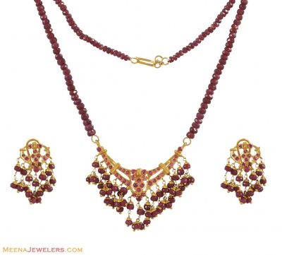 Ruby Necklace Set (22K Gold) ( Ruby Necklace Sets )