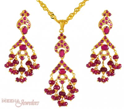 22Kt Pendant Set with Ruby ( Precious Stone Pendant Sets )
