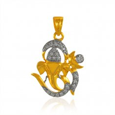 22k Gold Ganesha Pendant with  CZ