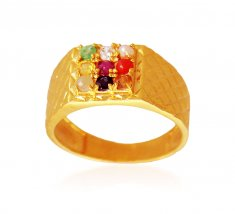 Mens 22K Gold Navratna Ring ( Mens Gold Ring )