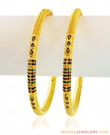 22K Beautiful Meena Bangles (2PC) ( Gold Bangles )