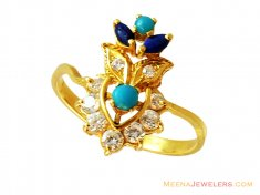 22k Fancy Colored Stones Ring