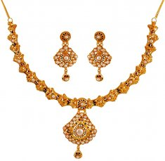 22K Gold Meenakari Necklace Set