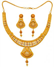 22Kt Gold Three Tone Necklace Set
