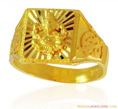 Ganesh Jee Mens Gold Ring ( Religious Rings )