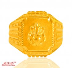 22 Kt solid Gold Ganesha Mens Ring ( Religious Rings )