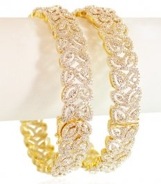 Diamond 18 Karat Gold Bangle 2Pc ( Diamond Bangles )