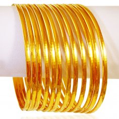 22kt Gold Bangles Set (12 pcs) ( Set of Bangles )