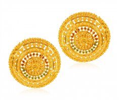 22k Gold  Earrings with MeenaKari ( 22 Kt Gold Tops )