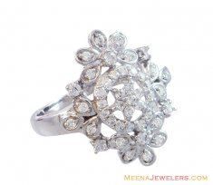 18K Designer Floral Ladies Ring ( Ladies White Gold Rings )
