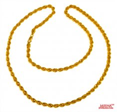 22 Kt Hollow Rope Chain (24 Inches) ( Plain Gold Chains )