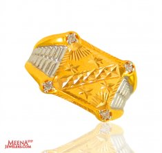22 Kt Gold Two Tone Mens Ring ( Mens Signity Rings )