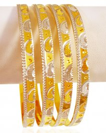 22Kt Gold Two Tone Bangles (4 PC)