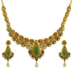 22Karat Gold Kundan Necklace Set ( Antique Necklace Sets )