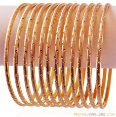 Fancy 22K Two Tone Bangles (12 PC) ( Set of Bangles )