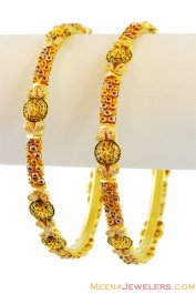 22K Indian Gold Filigree Bangles ( Gold Bangles )