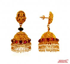 22K Gold Traditional Temple Jhumka ( 22Kt Gold Fancy Earrings )