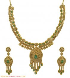 22K Designer Emerald Diamond Set ( Diamond Necklace Sets )