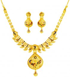 22K Gold Peacock Necklace Set ( 22 Kt Gold Sets )