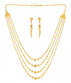 22k Gold Four Layered Necklace Set