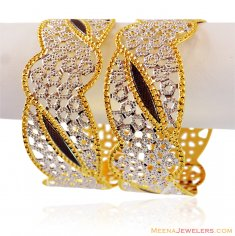 Gold Designer Rhodium Wide Bangle ( Two Tone Bangles )