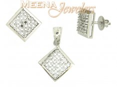 18Kt White Gold Signity Pendant Set ( White Gold Pendant Sets )