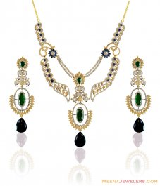 22k Gold Stones Necklace Set  ( Precious Stone Sets )