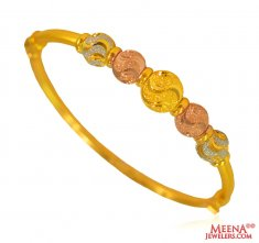 22 Karat Gold Three Tone Kada