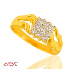 22 Kt Gold CZ Mens Ring