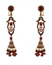 22Kt Gold Antique Long Earrings ( Long Earrings )