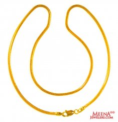 22Kt Gold plain Chain (16 In)