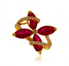 22K Gold Beautiful Ruby Ladies Ring ( Ladies Signity Rings )