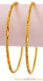 Machine Gold Bangles (2 pcs) ( Gold Bangles )