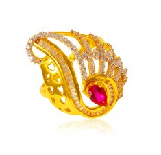 22 Kt Gold Cubic Zircon Ring ( Ladies Signity Rings )