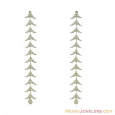 18K White Gold Long Earrings ( Exquisite Earrings )