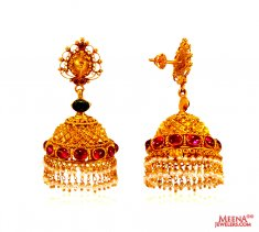 22 kt Gold Jhumki earrings ( 22Kt Gold Fancy Earrings )
