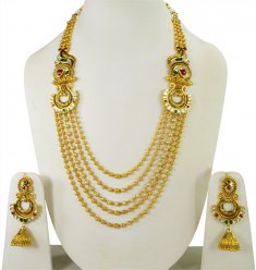22k Gold Classic Antique Set ( Bridal Necklace Sets )